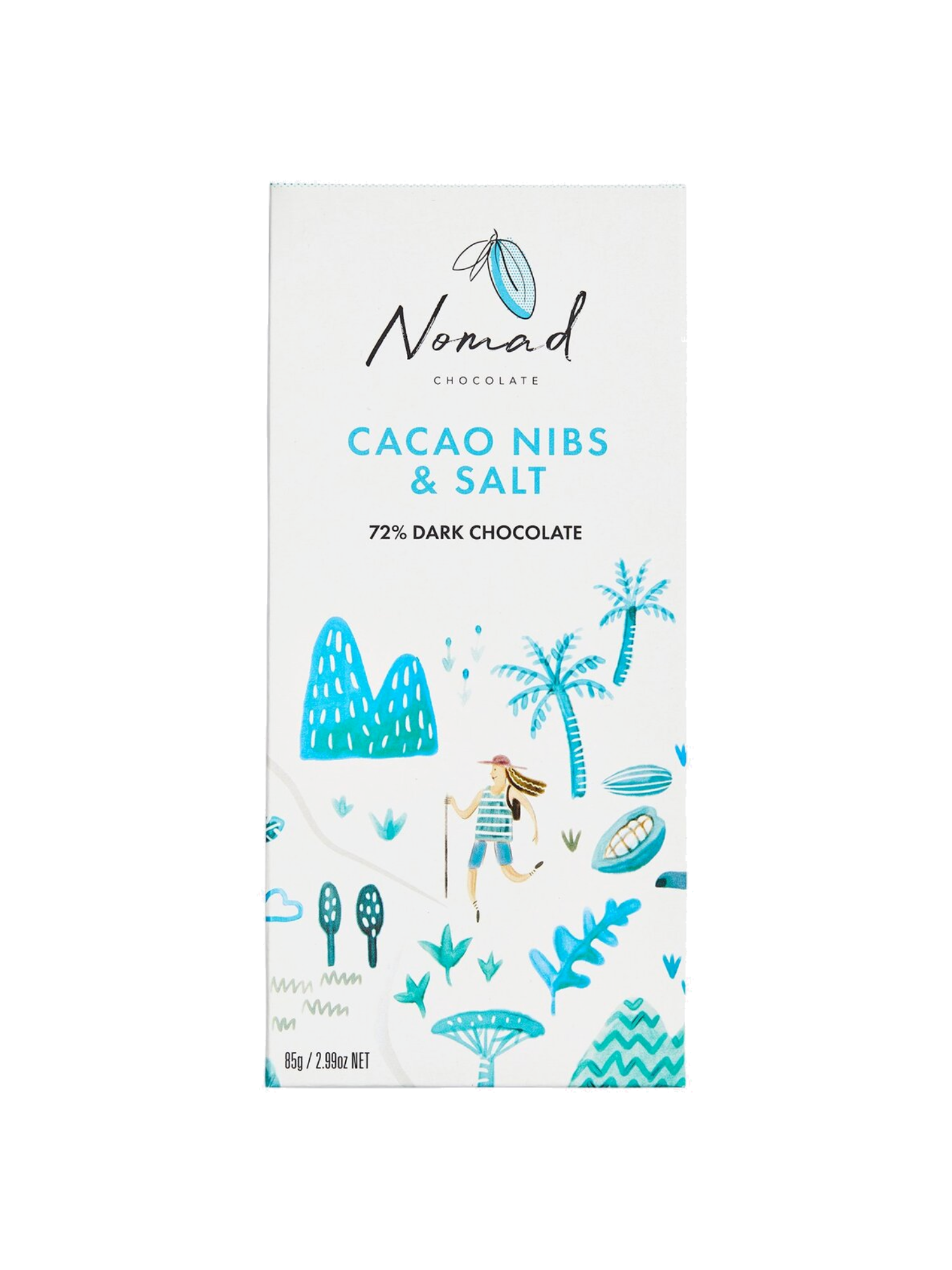 Nomad šokolaad Cacao Nibs and Sea Salt 72%