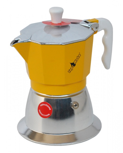 Top Moka Model Top 6 cups Induction Kollane