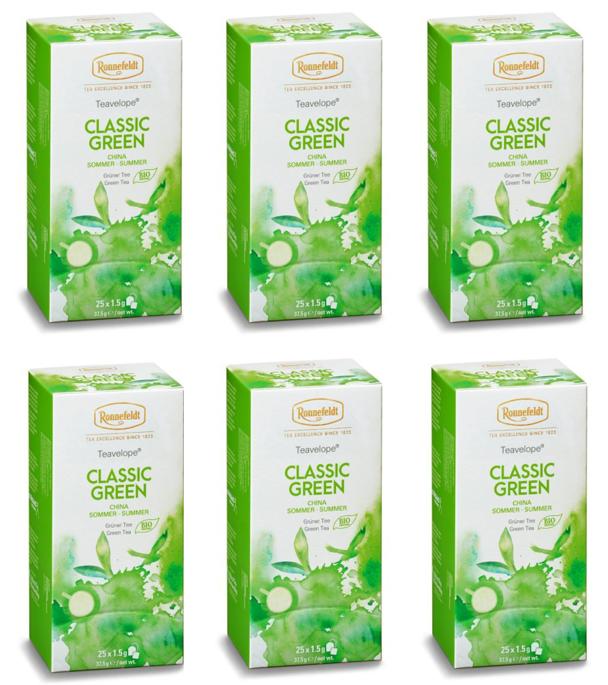 Ronnefeldt ümbrikutee Classic Green Organic 6 pakki