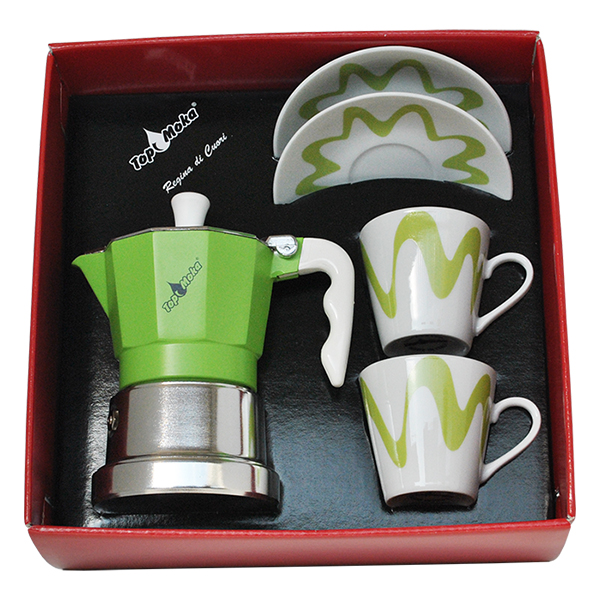 Gift Box - Moka Model Top 2 + 2 cups Green