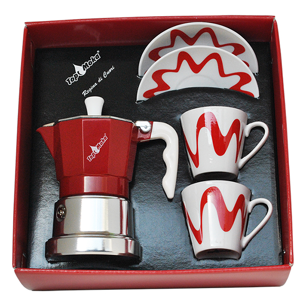 Gift Box - Moka Model Top 2 + 2 cups Red