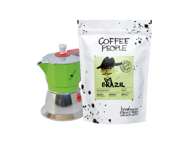 Mokakann Model Top 6 cups Induction Roheline + Espresso Brazil Linda 500g