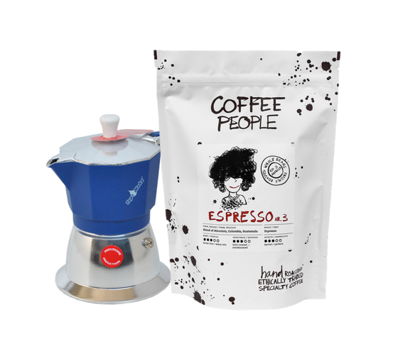Model Top 3 cups Induction Blue + Espresso No.3 500g