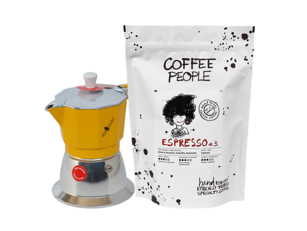 Model Top 6 cups Induction - Yellow + Espresso No.3 500g