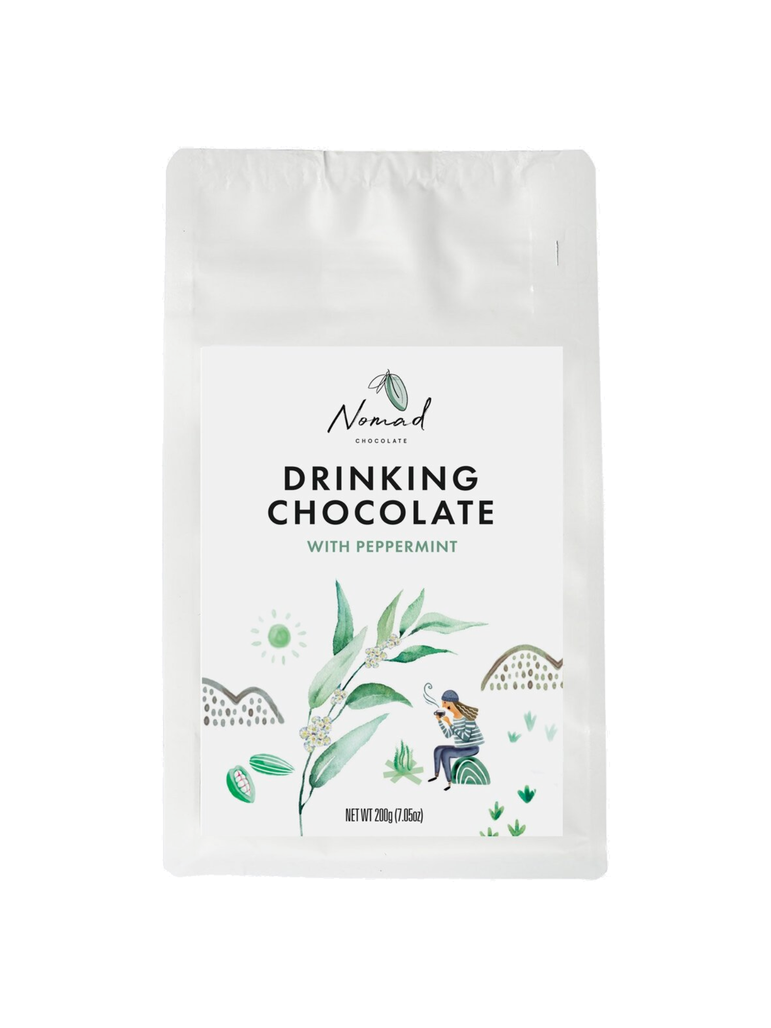 Nomad Drinking Chocolate Peppermint 45% 0,2kg